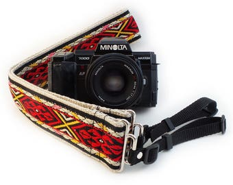 Camera Strap - Red Geometric Woven Ribbon on Organic Hemp Webbing and Webbing ends - works with DSLR, SLR and Manual Cameras