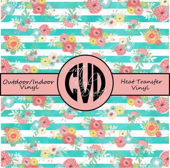 Floral Patterned Vinyl // Patterned / Printed Vinyl // Outdoor and Heat Transfer Vinyl // Pattern 687