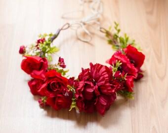 Inspired Soul Flower Crown/ photo prop/ headpiece/ hair accessory/ flower crown/ red crown/ romantic crown/ wreath/