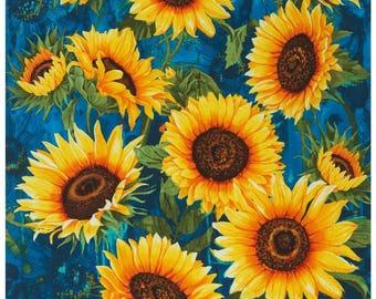 Sunflowers, Blue   Kitchen Curtains, Bathroom Curtains, Or Bedroom Curtains,  Curtain Panels