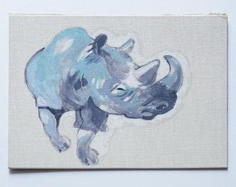 Original Bild, Nashorn. Acryl Malerei. Wand Deko. Wohnzimmer Deko. Natur Kunst. Geschenk für sie. Kunst fürs Büro. Afrikanisches Nashorn