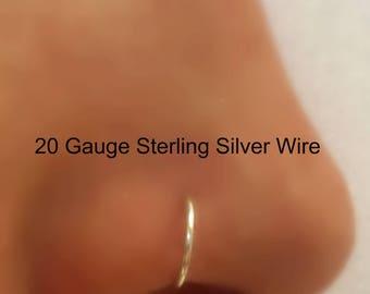 20 Gauge Sterling Filled Nose Hoop Nose Ring G 18G 20G 22G 24G  Gold Nose Piercing