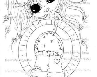 INSTANT DOWMLOAD Digital Digi Stamps Big Eye Big Head Dolls Digi  My Besties IMG857 By Sherri Baldy
