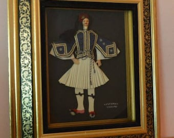 Vintage 3 Dimensional Greek Soldier Doll In Shadowbox Frame - Collect Mohair