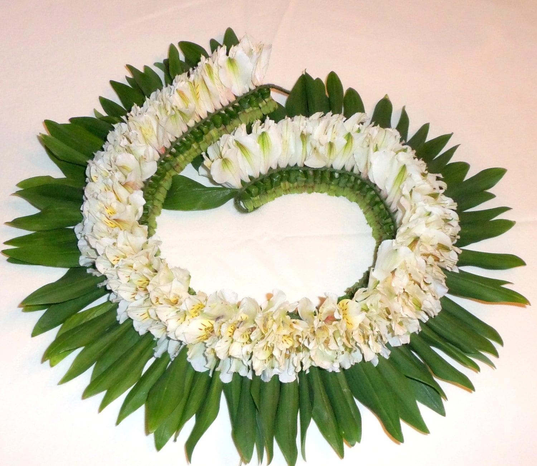 Hawaiian flower white luau floral leis party zoom izmirmasajfo