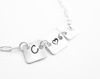 Hand Stamped Initial Necklace Custom Personalized Gift Sterling Silver Simple Everyday Necklace Valentines Day Anniversary Gift Couples Gift