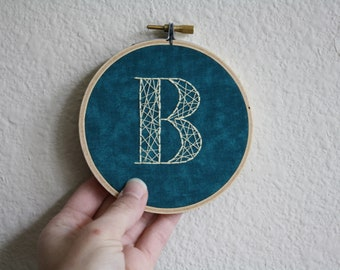 B Monogram Embroidery Hoop // Monogram Gift // Initial Wall Decor // Monogram Wall Art // Best Friend Gift // Gift for Boy // 4 inch hoop