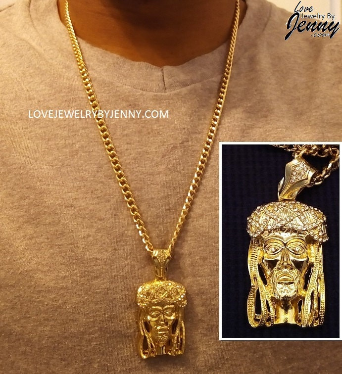 14k gold overlay 225 iced out jesus head charm w zoom aloadofball Image collections