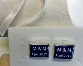 Personalized cufflinks wedding - Custom made - Initials / Name and wedding date