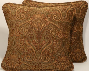 "2 Tan Throw Pillows, Paisley Pillows,Floral Pillows,Decorative Pillows, 2 18"" Tan and Green Chenille Designer Throw Pillows and Forms"
