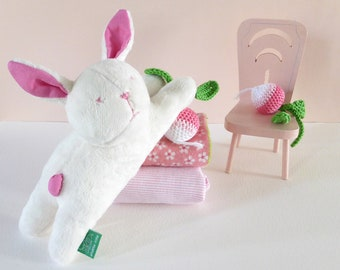 Easter bunny rabbit - Pink plush soft toy for baby and toddler - Kawaii cute Candy Pink and natural cream fabric stuffed Easter bunny rabbit