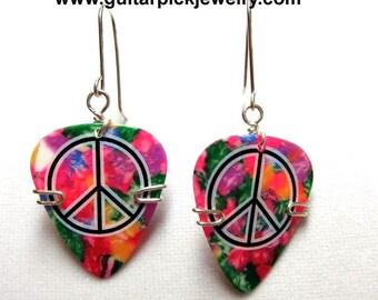 Guitar Pick Earrings = Tye Dyed peace sign picks