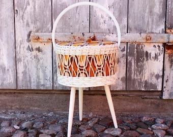 Vintage wicker sewing basket 60s 70s mid century wicker fabric wood tripod