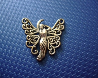Fairy Elf 27 mm x 18 mm antique silver charm or pendant