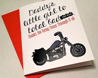 Father's Day Card - Daddy's Little Girl - Motorcycle - Thank you Dad