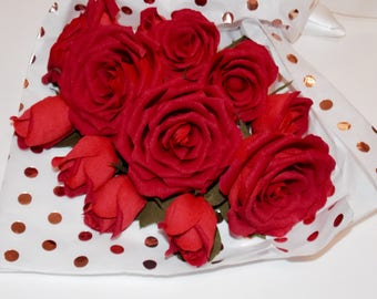 one Dozen RED crepe paper roses