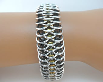 Dragonscale chainmaille bracelet, chainmail bracelet, chain mail bracelet, chain maille bracelet