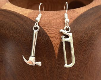 Tools earrings antique silver hammer and saw