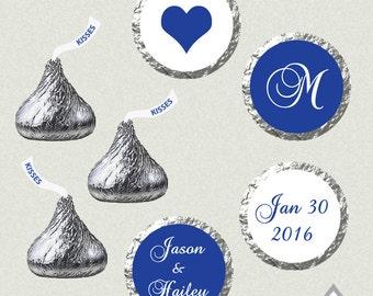 Printable Hershey Kiss Labels, Wedding Kiss Stickers, Royal Blue Wedding Kisses, Monogram Kisses, Wedding Kiss Favor, Hershey Kiss Stickers