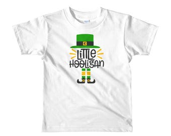 Little Hooligan St Patrick's day irish four leaf clover leprechaun Short sleeve kids t-shirt