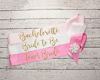Team Bride Sash, Bachelorette Sash, Bride To Be Sash / Bridal Party Sashes, Wedding Sash, Bridesmaid Party Sash, Maid of Honor Sash