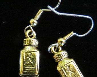 Pharmacist Earrings Rx Pill Bottle 24 Karat Gold Plate Or Oxidized Matte Silver Pharmacy Medical EG436 / ES404