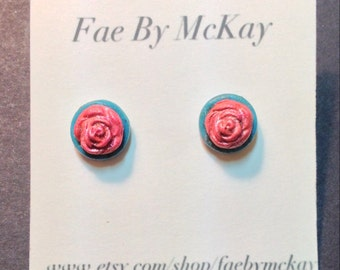 Pastel Goth Punk Turquoise Blue and Pink Rose Polymer Clay Stud Earrings