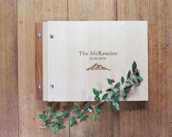 Mountains Wedding Guest Book, Wood Guest Book, Wedding Signing Book, Engagement Gift.