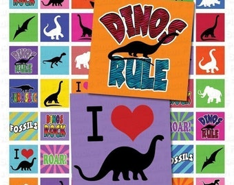 Dinosaurs Rule Digital College Sheet - 1x1 Inch Squares - Instant Download