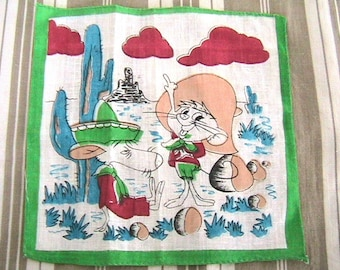 Lovely Speedy Gonzales & Slowpot Rodrigues 1950s Vintage Handkerchief - Colorful Print - COLLECTIBLE - Deadstock !