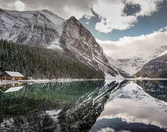 Lake Louise Boathouse & Glacier Photography Print