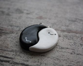 Ghostly Yin Yang Friendship Charms / Halloween /Clay