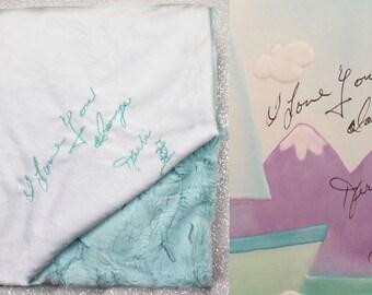 Special blanket, blanket with handwriting, minky thorw, personalized minky blanket, handwritten embroidery, memory blanket, memorial gift