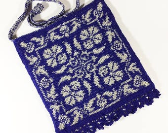 Tapestry Crochet Shoulder Bag, Blue and White Purse, Flower Bag - Free Shipping Domestic