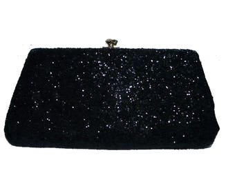 Black Glitter Evening Bag with Gold Chain Handle, Converts to a Clutch bag  • Vintage 1950s