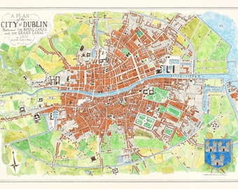 Dublin City Street map 1830 print, Dublin Map, Antique Dublin City map.