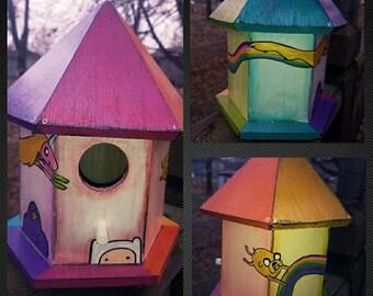 Adventure Time birdhouse Finn, LSP, Lady Rainicorn and Jake
