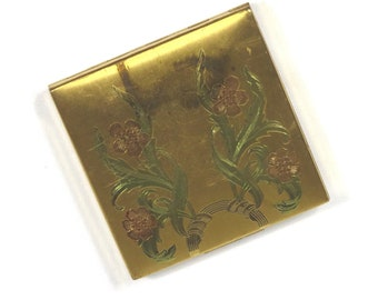 Elgin American Compact Mid Century Vintage 1940s 1950s Floral Goldtone Powder Compact