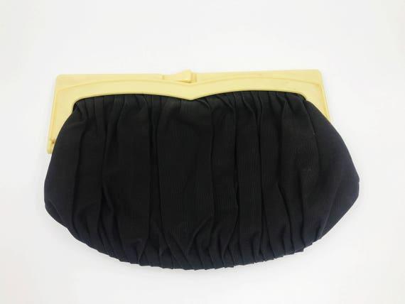 1960's Black Clutch Handbag - Black Clasp Closure Clutch Bag With Coin Purse Insert - Retro Goth Evening Clutch Black Minimalist Handbag