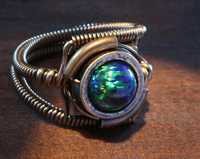 Steampunk Jewelry - Ring - Black LAB created OPAL