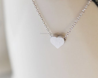 Silver tiny Heart necklace, simple heart necklaces, silver heart on daint silver chain..birthday gifts, wedding gifts, bridesmaid gifts