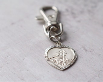 Personalised Saint Christopher Medal - Personalised Heart Silver Saint Christopher Key Chain