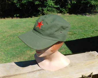 Vintage Chinese Army Military Red Star Communist Uniform Hat