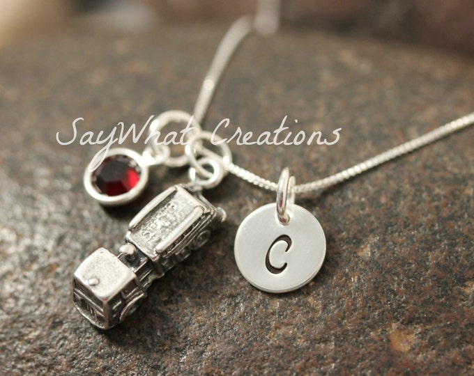 Hand Stamped Mini Initial Sterling Silver Fire Truck Firetruck Charm Necklace
