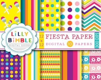 Fiesta digital paper for Cinco de Mayo with maracas, picado, chevron, yellow, orange, Instant Download commercial use