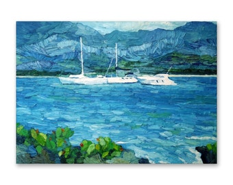Original seascape oil painting, boats painting on deep edge stretched canvas