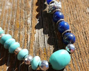 Happy Turquoise, Jasper, Lapis & Sterling Necklace