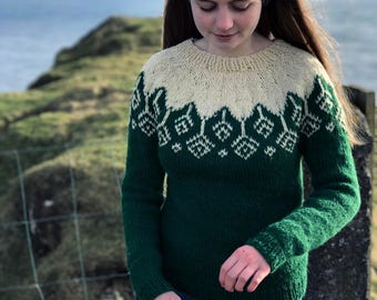 Sweater pattern, Icelandic pattern, lopapeysa pattern, womens sweater pattern, pdf pattern, knit pdf pattern, diy sweater, Akraberg Sweater.