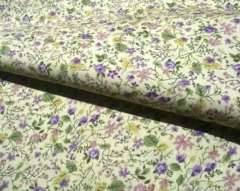 FLORAL print 100% cotton 140cm wide pale yellow background