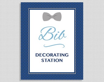 Bib Decorating Station Shower Sign, Navy & Grey Bow Tie Sign, Baby Boy Shower Sign, INSTANT PRINTABLE
